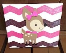 Deer Canvas. Deer decor, Girl camo decor, girls hunting decor, girl bedroom decor, cameo girl decor,