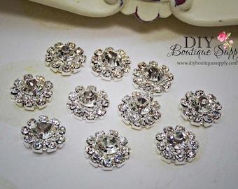 10 Pcs Rhinestone button Crystal Metal Flatback Baby Headbands Supplies flower centers invitations crystal bouquet 12mm 060016