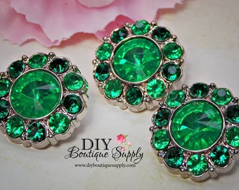 St. Patricks Day Green Rhinestone Buttons St Paddy's Day Green Crystal Buttons Embellishments flower centers - Scrapbooking  21 mm 834038