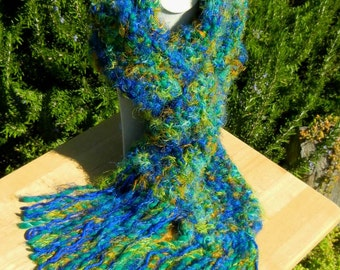 Hand Knit Long Scarf, Royal Blue and Green, Seed Stitch, Soft,    Bulky, Acrylic and Synthetic Yarns - Blue Algae