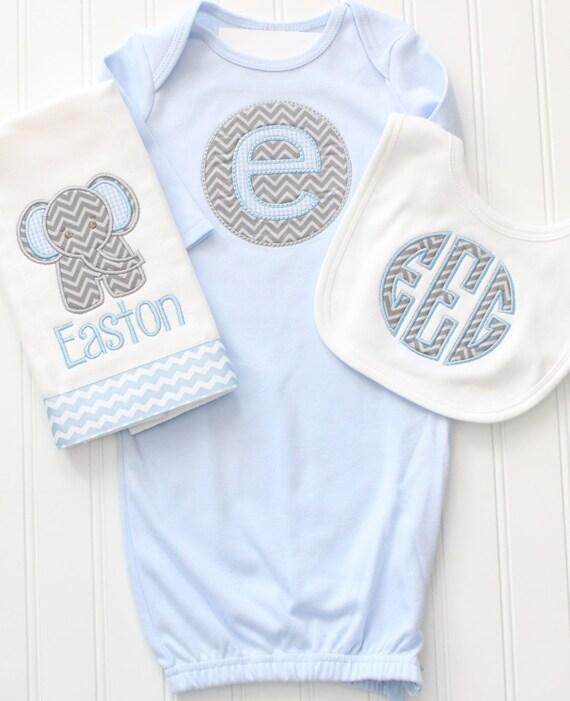 Monogrammed Baby Gown Monogrammed Elephant By Elliehandmades