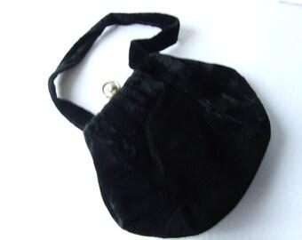 vintage evening bag black satin