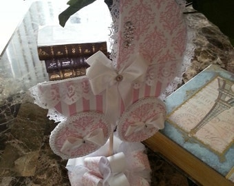 The Eliza Pink And White Tabletop Centerpiece / Carriage Centerpiece / Pink And White Baby Shower