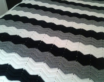 Gray, Black, White Chevron Throw