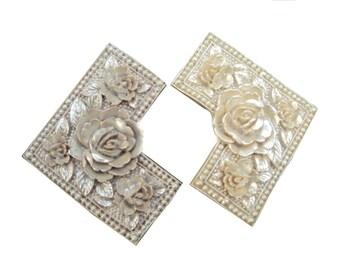 Vintage Art Deco Belt Buckle Sash Buckle Carved Celluloid Roses