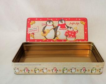 Decorative Tin, Debbie Mumm,  Penguins Cold Feet Warm Heart, Storage tin