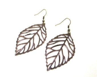 SALE! Large Leaf Earrings, Copper Leaf Earrings, Boho Earrings, Nature Earrings, Nature Jewelry, Leaf Jewellery,Hippie Earrings,Gift for Her