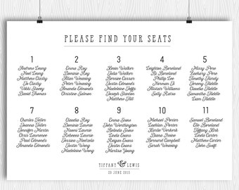 Printable Seating Chart Modern Minimalist Calligraphy Plan Arrangements Wedding Dinner