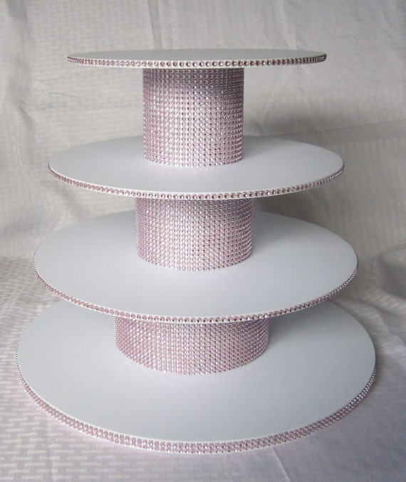 4 tier round cupcake stand rhinestone mesh by classycakestands - Bases para cupcakes ...