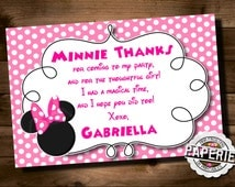 Pink MINNIE MOUSE Birthday Thank You Card, Minnie Mouse Party Ideas, Minnie Photo Invitation, Pink Frosting Paperie