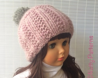 Knitting pattern * Taylor Beanie * Instant Download pattern #469 * Fast and easy * pompom * newborn baby toddler child teen woman sizes
