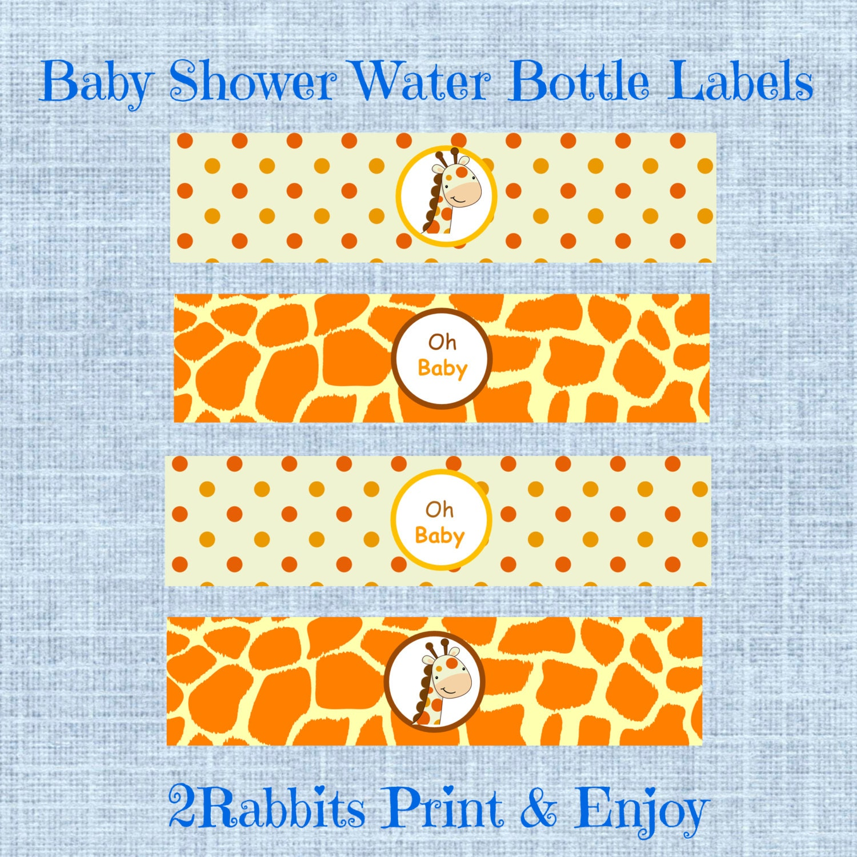 giraffe themed baby shower water bottle by 2rabbitsprintenjoy