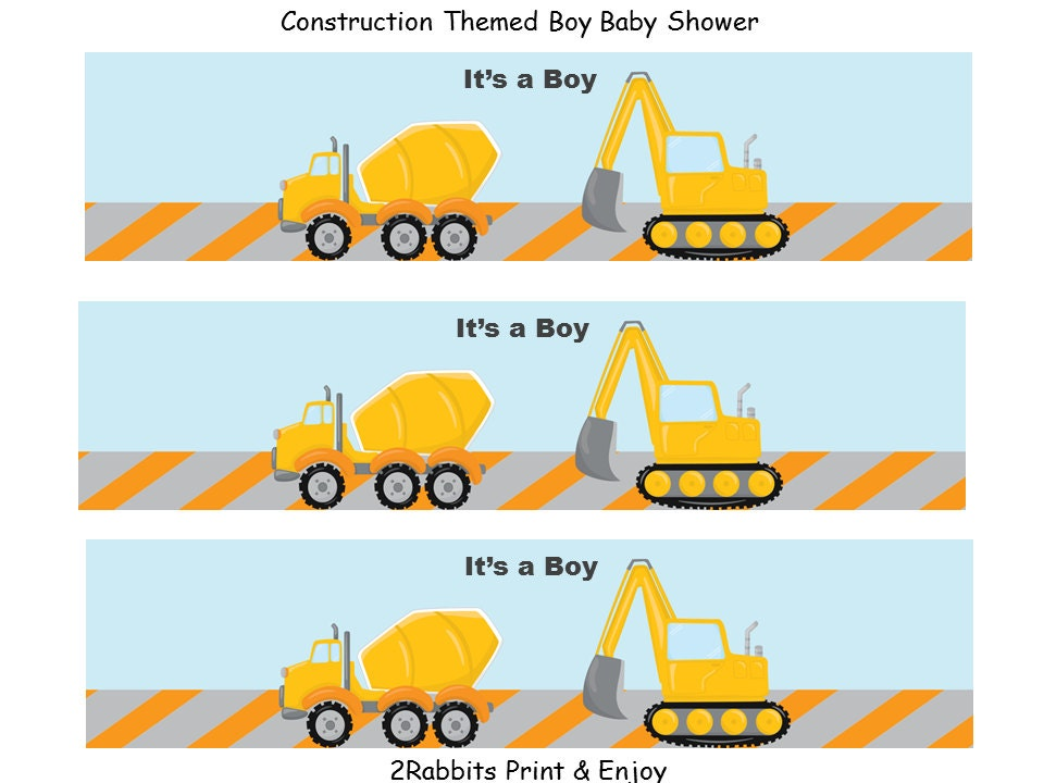 construction themed boy baby shower water bottle labels