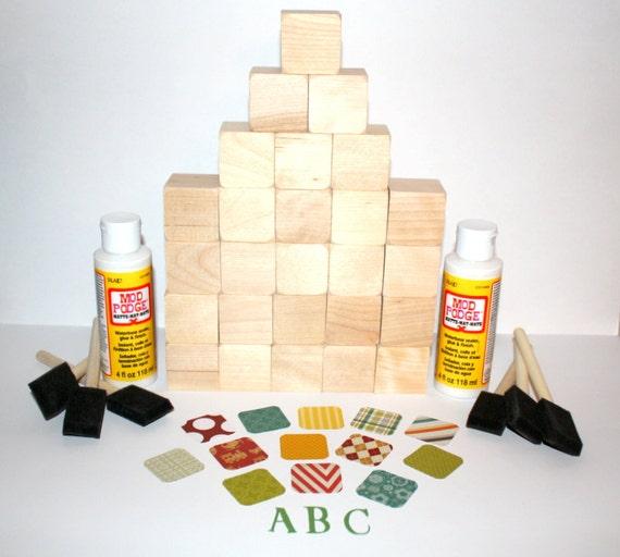 Diy baby shower craft alphabet blocks children 39 s baby for Child craft wooden blocks