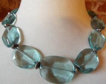 Synthetic Blue Quartz Statement Necklace