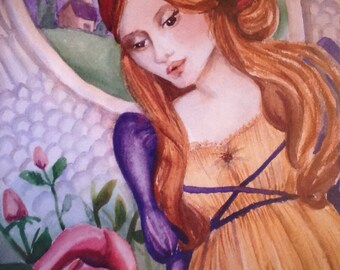 """Renaissance angel painting.Print of my original watercolor, """"A Rose For Mary"""" 11x15"""""""