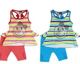 3883/2882- 2PC infant/children smily face stripe set