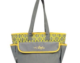 91933-GORGEOUS ANTIQUE;PRINT grey & yellow diaper bag
