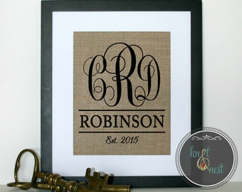 Personalized Burlap Wedding Print, Personalized Gift, Monogrammed Burlap Wedding Print, Wedding Burlap Print, wedding gift, engagement gift