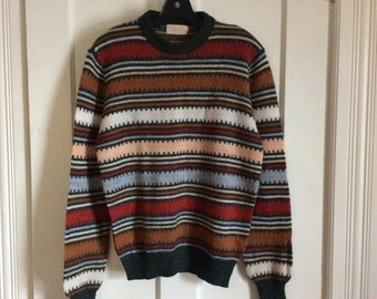 Vintage 1970's Earth Tones Striped Sweater size Medium Green Rust Multicolor