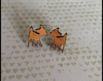 Wooden Fawn Earrings - 1x pair of cherry wood earrings with deer design - 12x17mm wooden deer set on surgical steel post - Elk - deer - fawn
