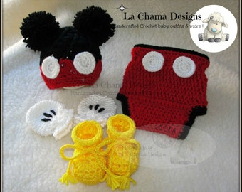 Mickey Mouse crochet outfit. Baby boy crochet outfit. Baby hat outfit. Mickey Mouse hat outfit. Mickey crochet outfit.
