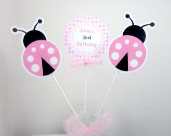 Pink Ladybug Centerpiece Sticks - Ladybug Birthday Centerpieces - Ladybug Baby Shower Centerpieces