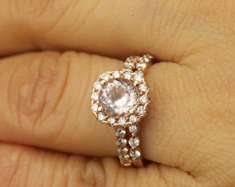 Sophia & Brooke Set - Morganite and Diamond Halo Engagement Ring and Diamond Wedding Band in Rose Gold, Round Brilliant Cut, Free Shipping