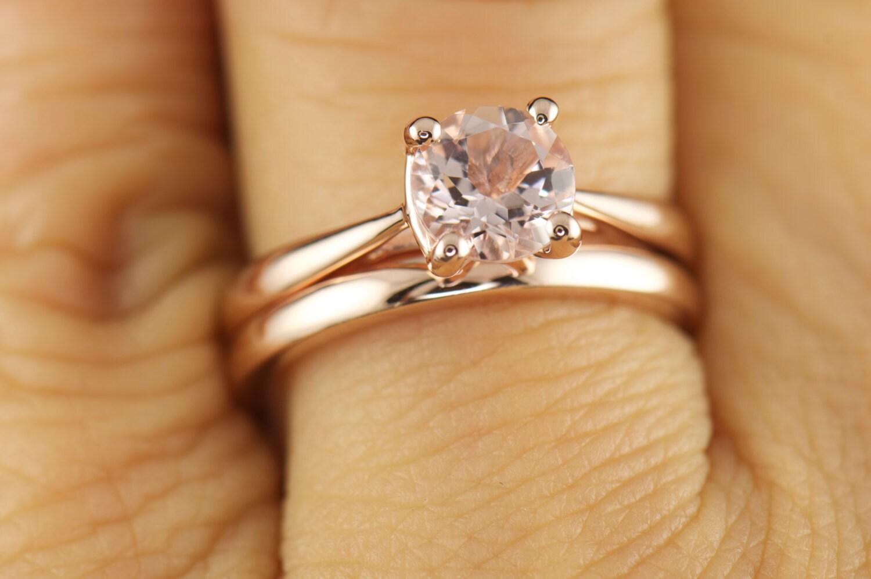 Rose Gold Solitaire Morganite Ring