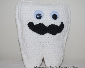 Crochet Tooth Fairy Pillow with Mustache