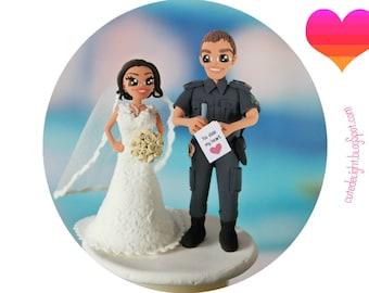 POLICEMAN Wedding Cake Topper,wedding cake topper,Custom cake topper,Funny cake topper,Cop cake topper,police wedding cake, policeman groom