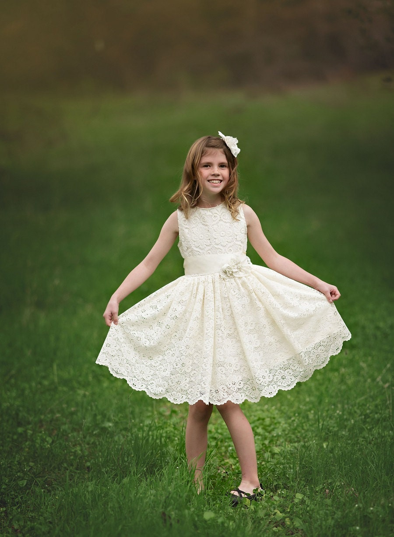 Ivory Lace Flower Girl Dress Vintage Lace Flower Girl  Ivory Lace Vintage Flower Girl Dress
