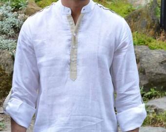 Mens Linen   Nehru Collar Thigh Length Kurta with contrast placket.