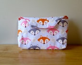 Diaper Clutch with Vinyl changing pad and wipes case - Foxy