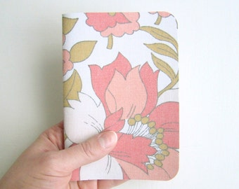 SALES Notebook A6 Vintage Pink Flowers Fabric // Recycled Lined Paper