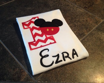 Mickey inspired first birthday shirt
