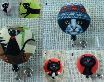 Black Cats Retractable ID Name Badge Holder Reel