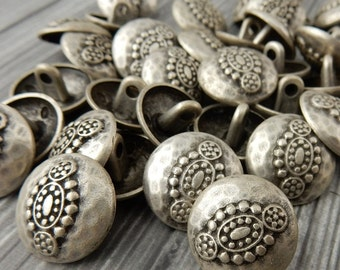 Hammered Tribal Buttons, Antique Silver Metal Button, 18mm Qty 4 , Bali Style, Great for Leather Wrap Clasps or Clothing