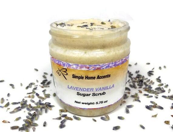 Lavender Vanilla Sugar Scrub, 8 oz Vegan Sugar Scrub, Exfoliating ...