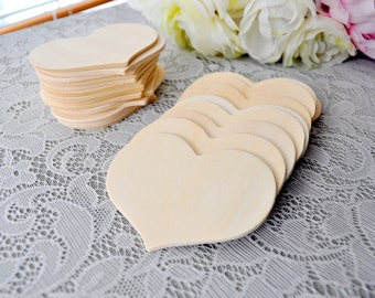 "SET OF 10 - 3 3/8"" Large Natural Wooden Hearts Wedding Craft Hearts Centerpieces Favors heart Tags 3 3/8"" Wood Hearts"
