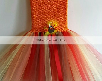 Thanksgiving fall colors dress with detachable turkey bow clip