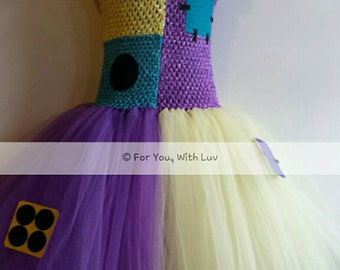 Sally Tutu Dress, Patchwork Birthday party dress, Princess, pageant, dance dress, Sally Dress up, Costume.