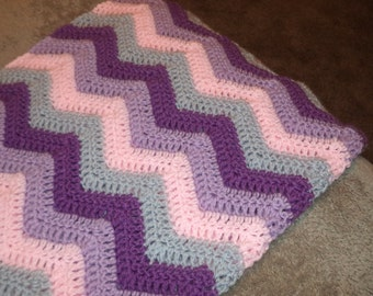 Soft wintry ripple afghan in purple, lavender, pink and gray