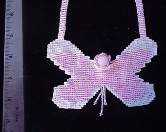 Handmade Large Pink & White Butterfly Necklace - Approx. 16""