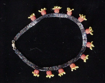 Handbeaded Yellow & Red Bell Flower Necklace - Approx. 16""