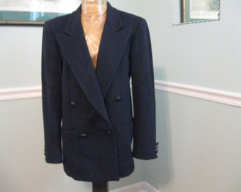 Classic Bergorf Goodman-Navy Wool Double Breasted Blazer Size 4/6 Fabulous!