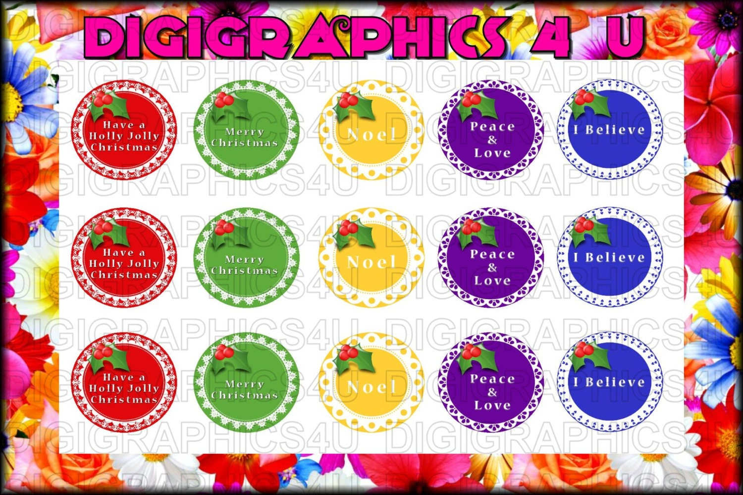 Christmas Holiday Wreaths 1 Inch Bottle Cap Images For