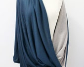 Back in Stock! Jersey Nursing Scarf - Gray and Teal Scarf, Soft Scarf, Double Layer, Nursing Cover, Infinity Scarf