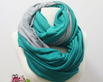 Mint Green and Gray Infinity Scarf