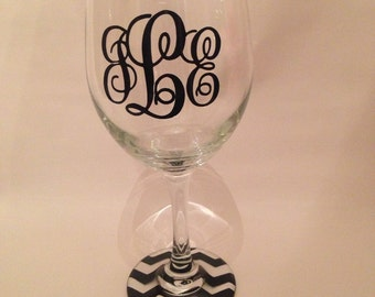 chevron monogram wine glass- MANY COLORS AVAILABLE